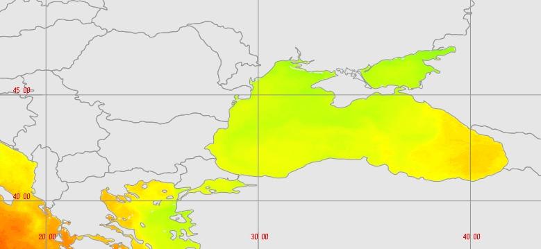 Mer Noire, exemple d'anomalie de température de surface révélée par surveillance satellitaire (MODIS.ESA).