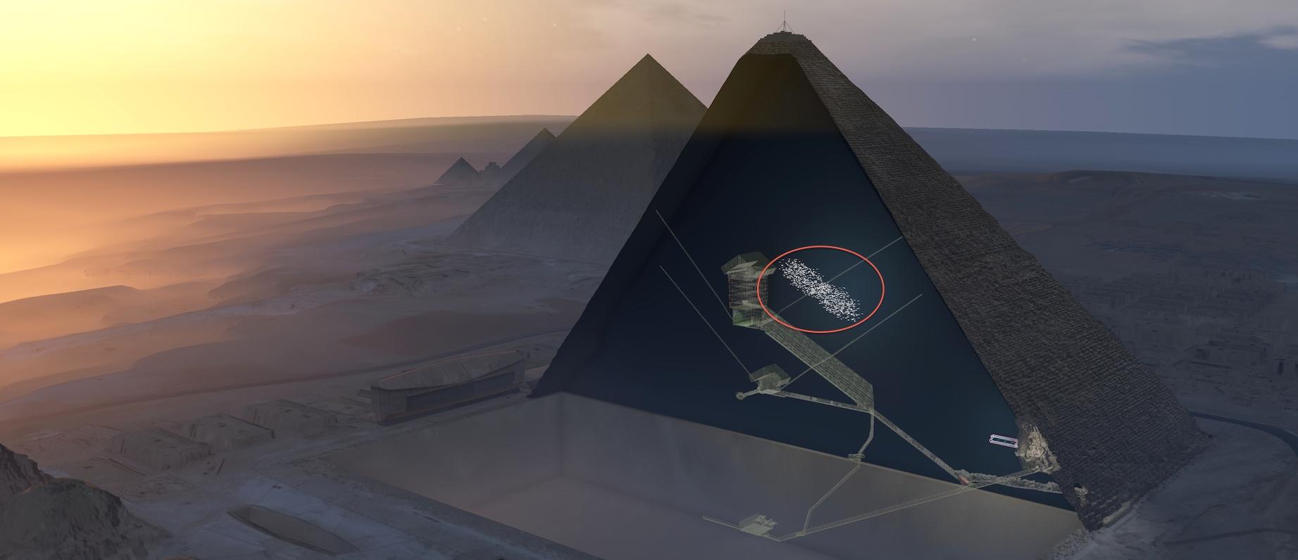 Localisation de la nouvelle cavité géante détectée dans la Grande Pyramide de Chéops. © ScanPyramids