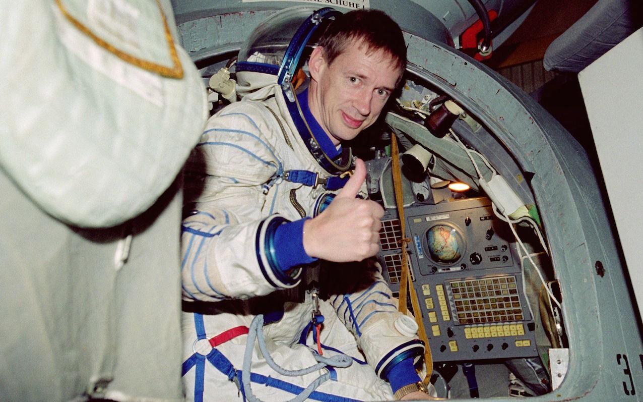 """Frank de Winne, deuxième astronaute belge de l'Agence spatiale européenne, à l'entrainement pour la mission """"Odissea""""."""