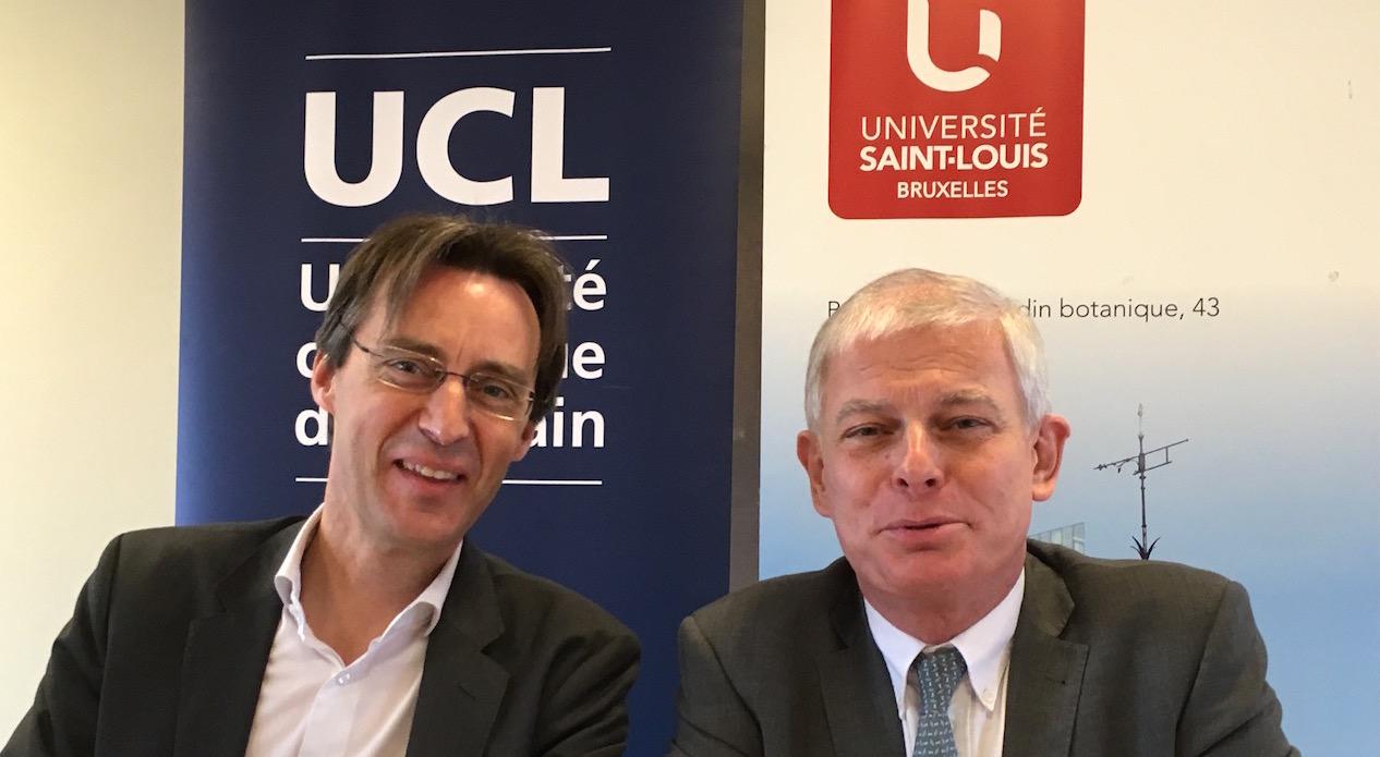Le Pr Vincent Blondel (à gauche), recteur de l'UCL, et le Pr Pierre Jadoul, recteur de l'université Saint-Louis, à Bruxelles.