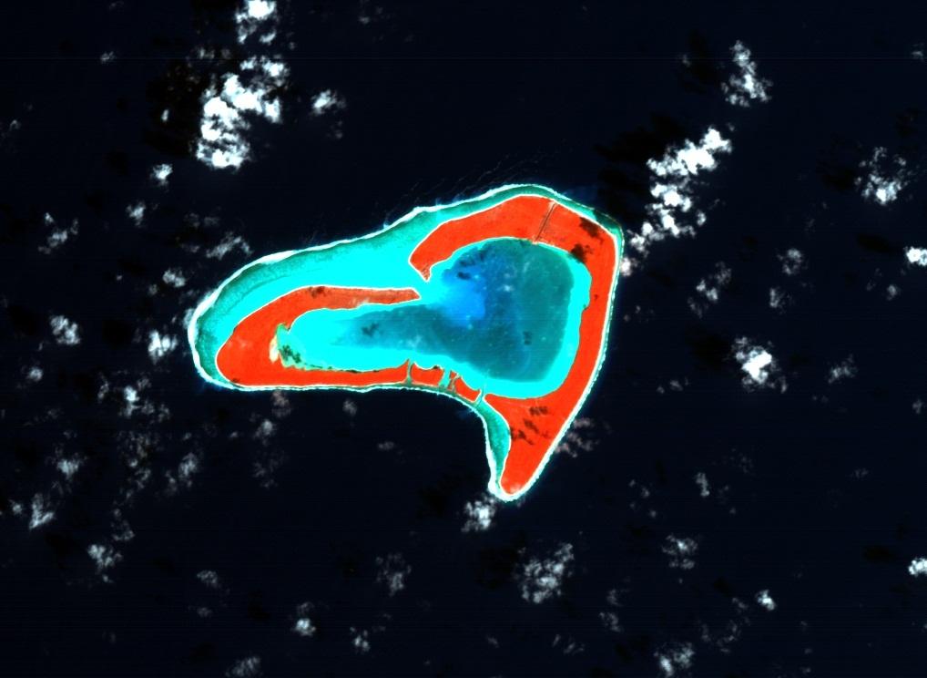 Ile Tupai, dans le Pacifique, vue par Proba-1 © ESA