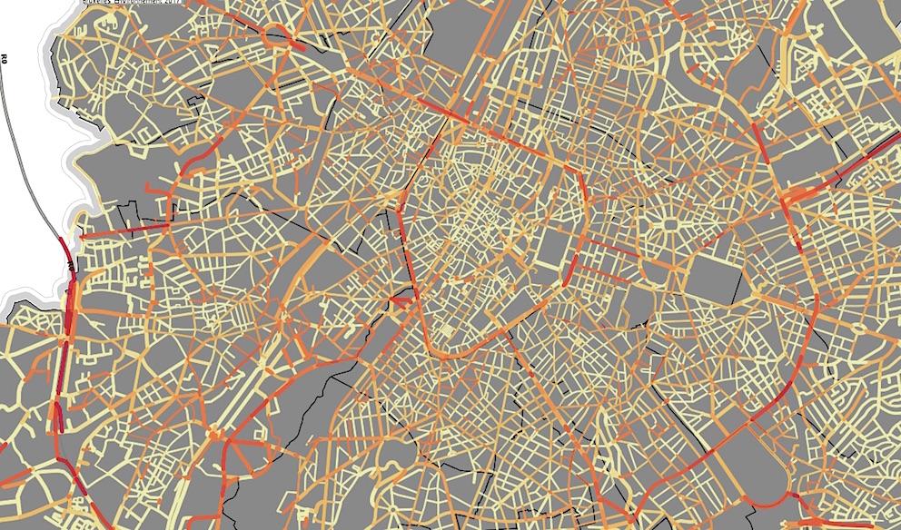 """Extrait de la carte en ligne """"ExpAIR"""", heures de pointe. © Bruxelles Environnement"""