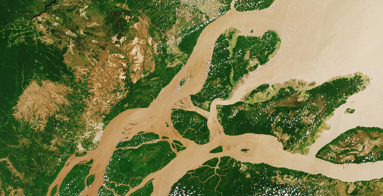 L'Amazone ne charrie pas que des sédiments vers l'océan. C'est également un vecteur d'échanges du carbone. © ESA image Sentinel-2A