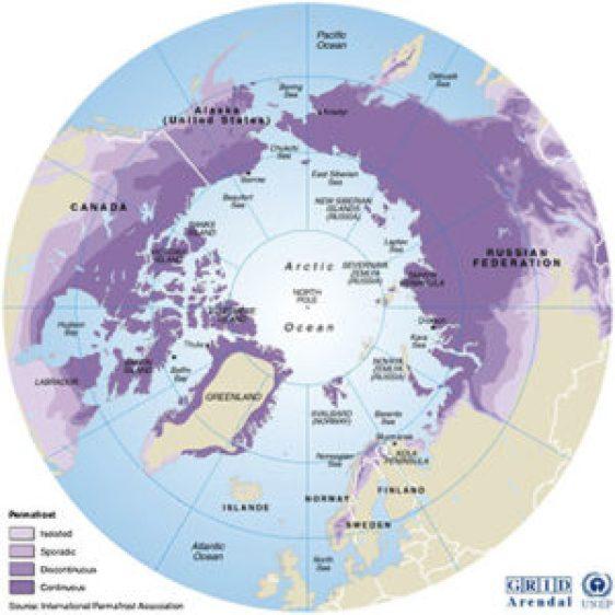 Etendue du permafrost dans l'hémisphère Nord - Source UNEP