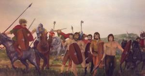 Les « farouches » guerriers gaulois et leur Carnyx. (Musée des Celtes, Libramont)