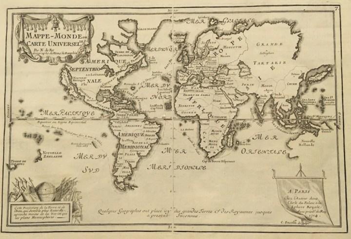 """Une """"Mappe Monde"""" de 1714 : un voyage dans le temps autant que dans l'espace."""