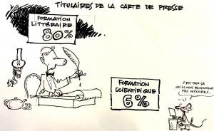 """En France, seuls 6% des titulaires d'une carte de presse ont une formation initiale en Science. Dessin du vulgarisateur et scientifique québécois Jacques Goldstyn, qui participait au colloque """"Journalisme scientifique 2.0"""" d'Annecy."""
