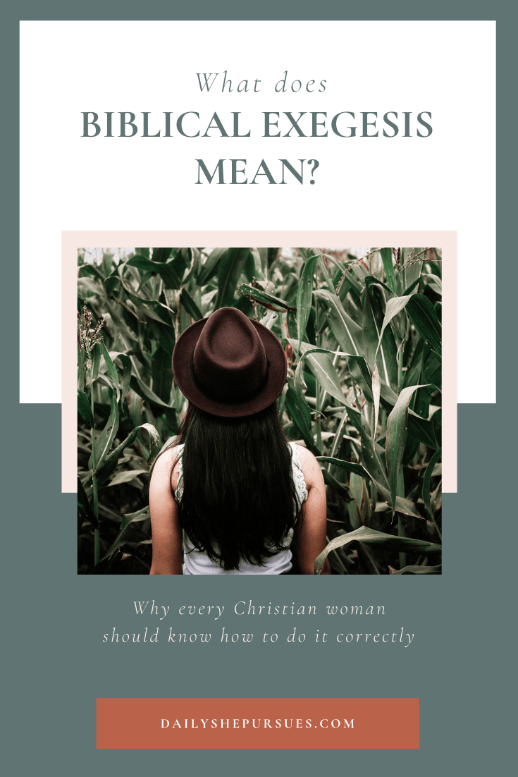 """Photo of woman standing in cornfield and text """"what does biblical exegesis mean""""?"""