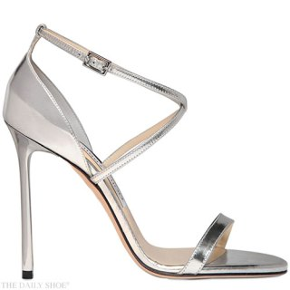 JIMMY CHOO 110MM HESPER MIRROR LEATHER SANDALS
