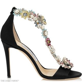 Jimmy Choo Reign Black Satin Sandals with Camellia Mix Anklet