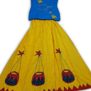 Women's Cotton Applic Wrapskrit And Top (Blue & Yellow)