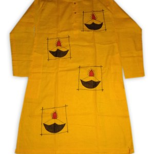 Men's Cotton Applic Punjabi (Yellow)