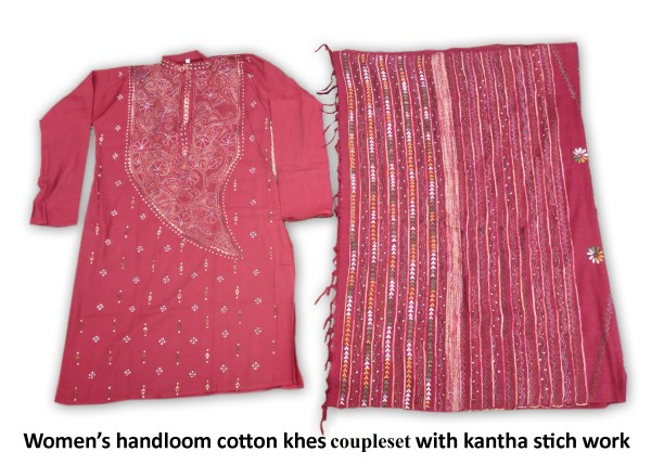 Woman's Handloom Cotton Khes Couple-set With Katha Stich Work