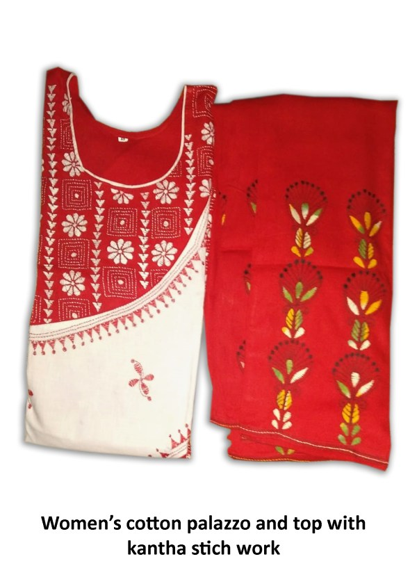 Women's Cotton Palazzo And Top With Kantha Stich Work