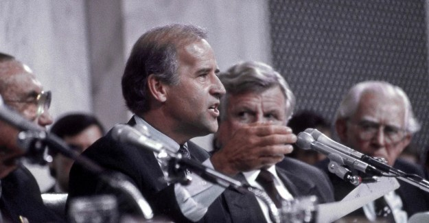 Sen. Joe Biden speaks during the Judiciary Committee's 1991 confirmation hearings for Supreme Court Justice Clarence Thomas. The next year, he urged the Senate not to move any more judicial nominees until after the election. (Photo: Mark Reinstein/Zuma Press/Newscom)