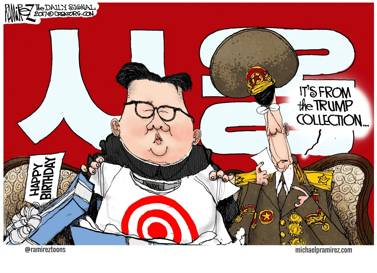 Image result for cartoon north korea and trump