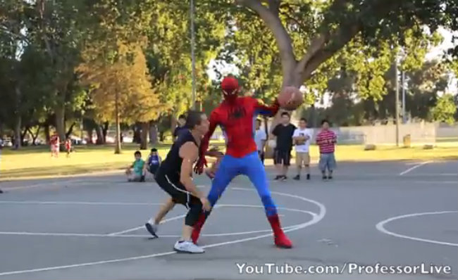 Spiderman playing basketball MustSee  Daily Snark