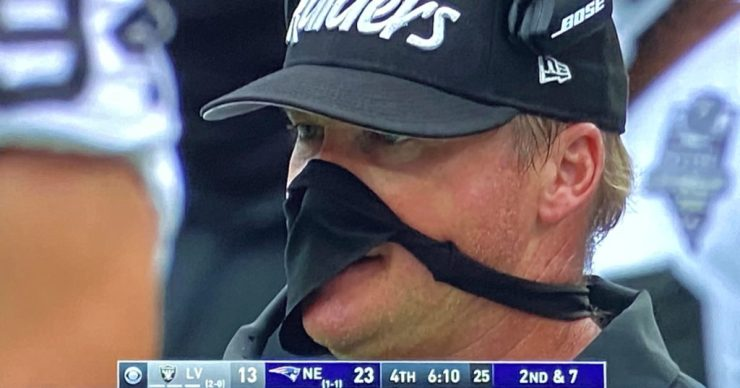 Raiders Coach Jon Gruden May Or May Not Be Wearing A Thong As A Mask Today  (PICS)