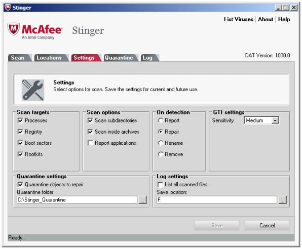 McAfee Labs Stinger windows