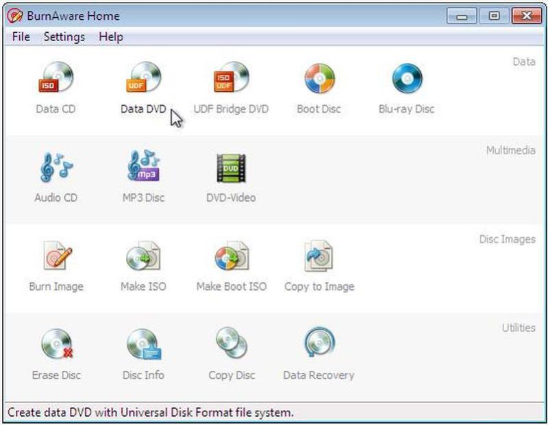 BurnAware Premium windows