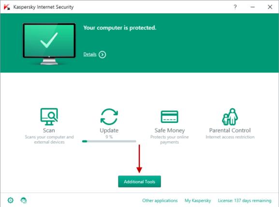 Kaspersky Internet Security windows