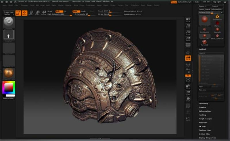Pixologic ZBrush windows