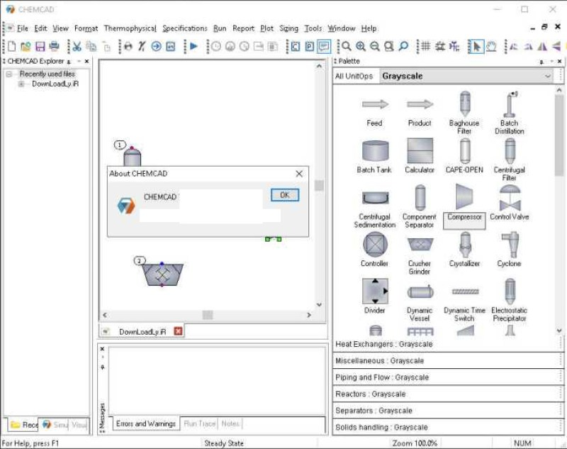 Chemstations CHEMCAD Suite windows
