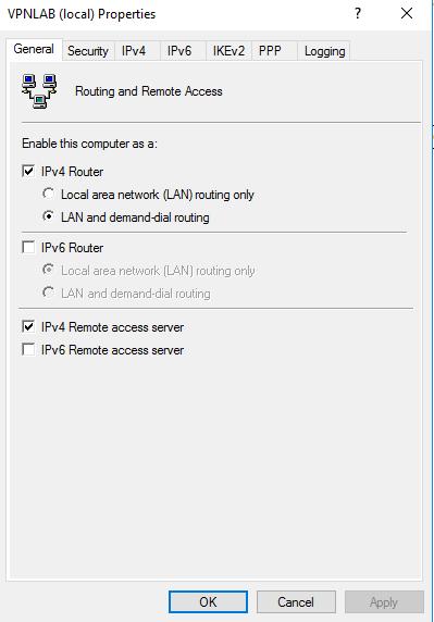 Create an L2TP VPN Server in Windows Server 2016