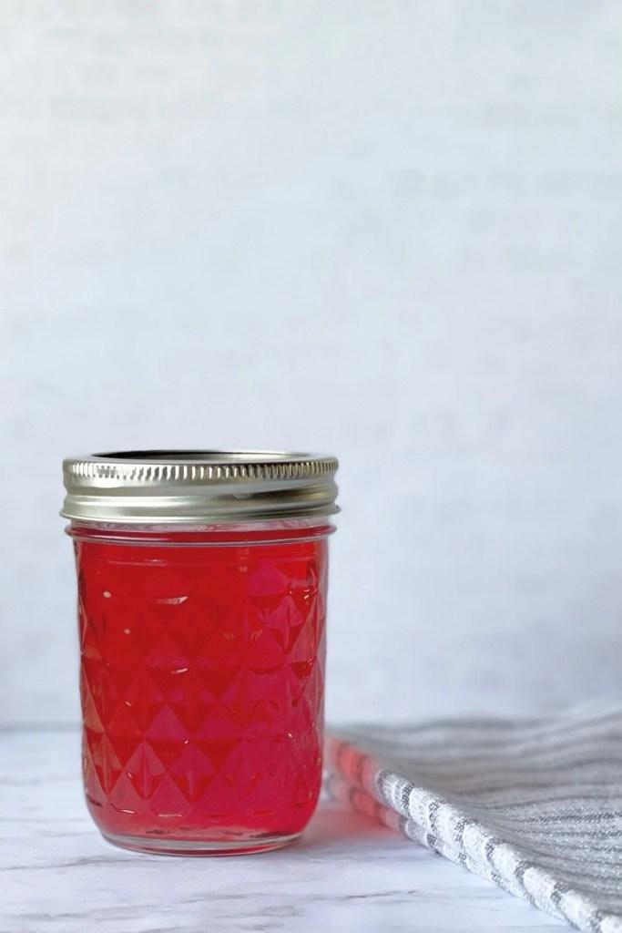 raspberry syrup in mason jar