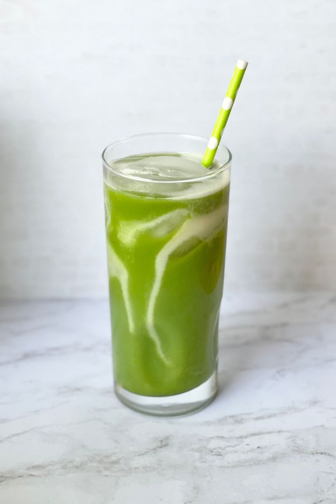 iced matcha latte with straw