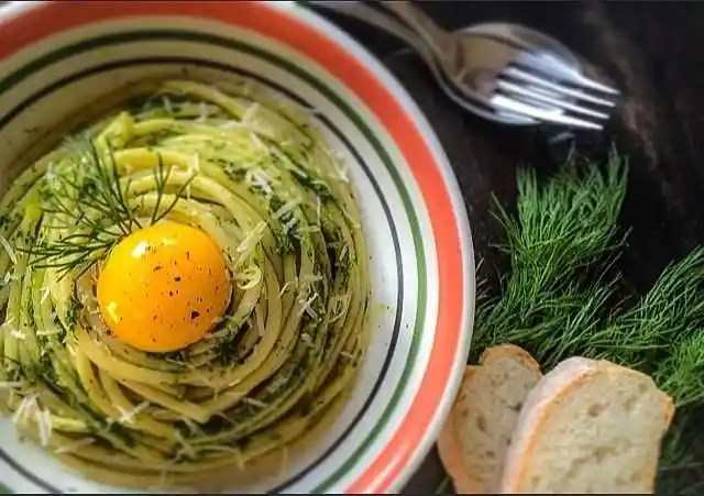 {Farm To Table} Bucatini Pasta in a Dill and Basil Pesto