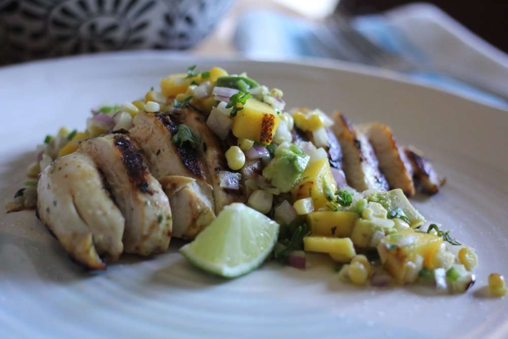 Margarita-Marinated Chicken with Grilled Mango, Avocado and Corn Salsa + VIDEO