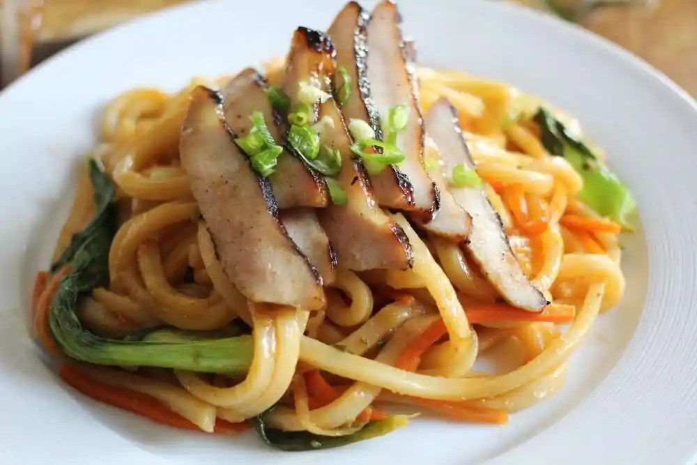 Barbecued Char Siu with Spicy Udon Noodles featuring Liberterre Pork Jowls