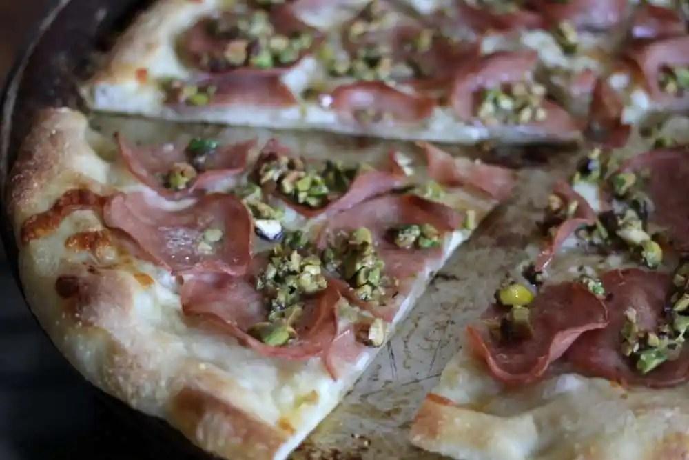 Pizza with Mortadella & Pistachio Pesto