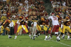 Welcome return · Freshman Matt Barkley did not disappoint in his return to the starting lineup Saturday, finishing with 247 yards and two long touchdown passes to receivers Damian Williams and Brice Butler. - Dieuwertje Kast | Daily Trojan