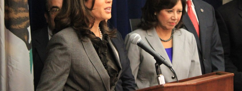 Senator and vice-presidential nominee Kamala Harris addresses a press briefing from her time as California attorney general.