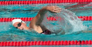 Full speed ahead · Senior Haley Anderson improved upon her record-setting career for the women's swim team, taking home conference titles in the 500-yard freestyle and 1650-yard freestyle events. - William Ehart | Daily Trojan