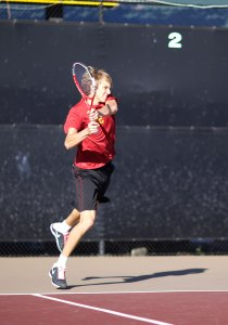 So close · Freshman Max de Vroome (above) teamed with sophomore Eric Johnson to take second in the Pacific Coast Doubles Tournament. - Ralf Cheung | Daily Trojan