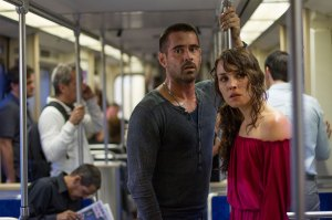 Strangers on a train · Colin Farrell (left) and Noomi Rapace (right) play two strangers who are brought together through their mutual desire for revenge against Alphonse, the corrupt ringleader of a crime empire. - Photo courtesy of FilmDistrict Publicity