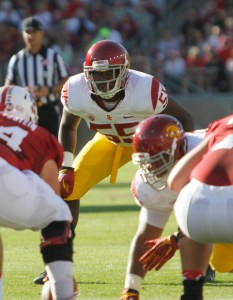 Great expectations · Junior linebacker Lamar Dawson (55) will be expected to play a key role in USC's new 5-2 defensive system.  - Daily Trojan file photo