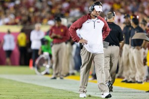 Exit Lane · USC head coach Lane Kiffin was fired early Sunday morning following a heart-wrenching loss to the Arizona State Sun Devils in Tempe, Ariz. This was Kiffin's fourth season with the Trojans. - Ralf Cheung | Daily Trojan