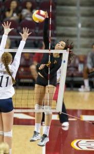 Back on track · Sophomore outside hitter Samantha Bricio led USC in points (12.5) against the Anteaters, recording nine kills and two aces. - Ralf Cheung | Daily Trojan