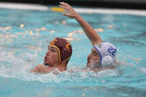 Head above water · Senior two-meter Jeremy Davie (2) earned All-American Honorable Mention and was named All-MPSF First Team last season after scoring 29 goals for the Trojans, good for fifth on the team. - Daily Trojan file photo