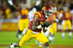 Not letting this slip away · Sophomore wide receiver Nelson Agholor pulled in a 62-yard pass from redshirt sophomore quarterback Cody Kessler to set the tone in Thursday night's shootout against the Wildcats. - Ralf Cheung | Daily Trojan