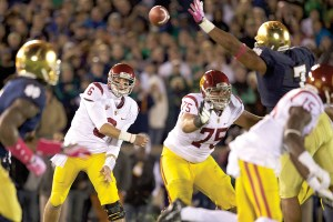 Throwing it out there · Redshirt sophomore quarterback Cody Kessler will have to work with a limited group of options, as many of his top tight ends and receivers are not expected to play against Oregon State. - Ralf Cheung | Daily Trojan