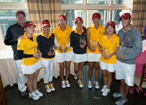 Hot streak · The USC women's golf team has finished first in eight of its last nine events dating back to last season. The team overcame sophomore Annie Park's disqualification on Tuesday to secure a two-stroke victory. - Courtesy of USC Sports Information