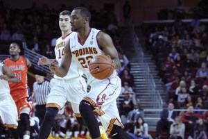 Lead the charge· USC junior guard Byron Wesley continued his stellar play against Cal State Fullerton. Wesley finished the game with 22 points on 7-for-14 shooting with eight rebounds, two assists and one steal. - Nick Entin   Daily Trojan