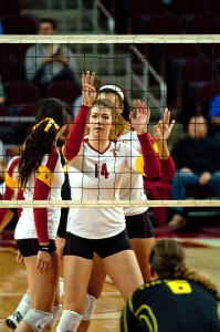 Efficient · Junior middle blocker Hannah Schraer has converted 114 of her 253 attempts for kills for a .344 hitting percentage this season. - Joseph Chen | Daily Trojan