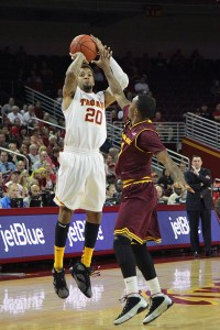 Rise up · USC senior guard J.T. Terrell scored 20 points on eight-for-17 shooting in the team's 78-65 season-opening loss to Utah State on Friday. - Ralf Cheung | Daily Trojan