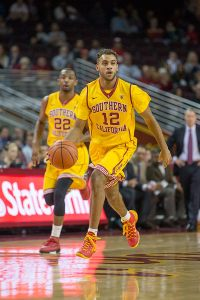 On the fly · Freshman point guard Julian Jacobs has occasionally played at the 2-guard spot for USC due to the absence of senior guard J.T. Terrell. - Ralf Cheung | Daily Trojan